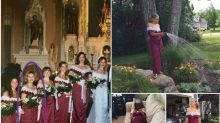 'Best bridesmaid ever' celebrates friend's anniversary with photoshoot in 1995 dress
