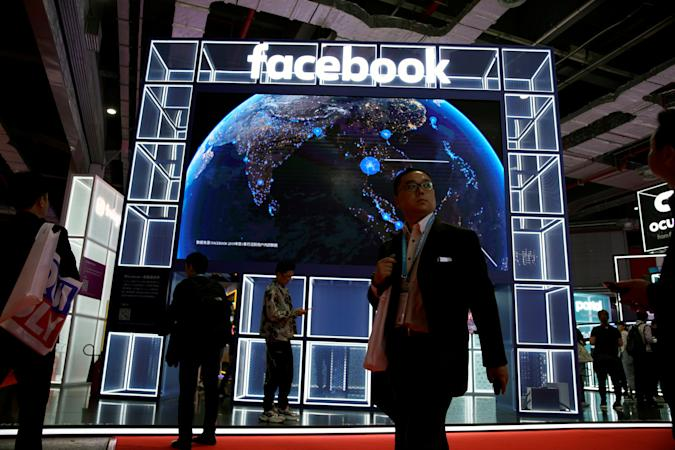 A Facebook sign is seen at the second China International Import Expo (CIIE) in Shanghai, China November 6, 2019. REUTERS/Aly Song