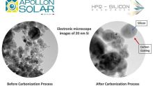 HPQ Partner Apollon Solar Delivers First Batch of Carbon Coated Nano Silicon Powders to INRS for Evaluation