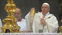 Pope Francis conducts his first Christmas Eve midnight mass