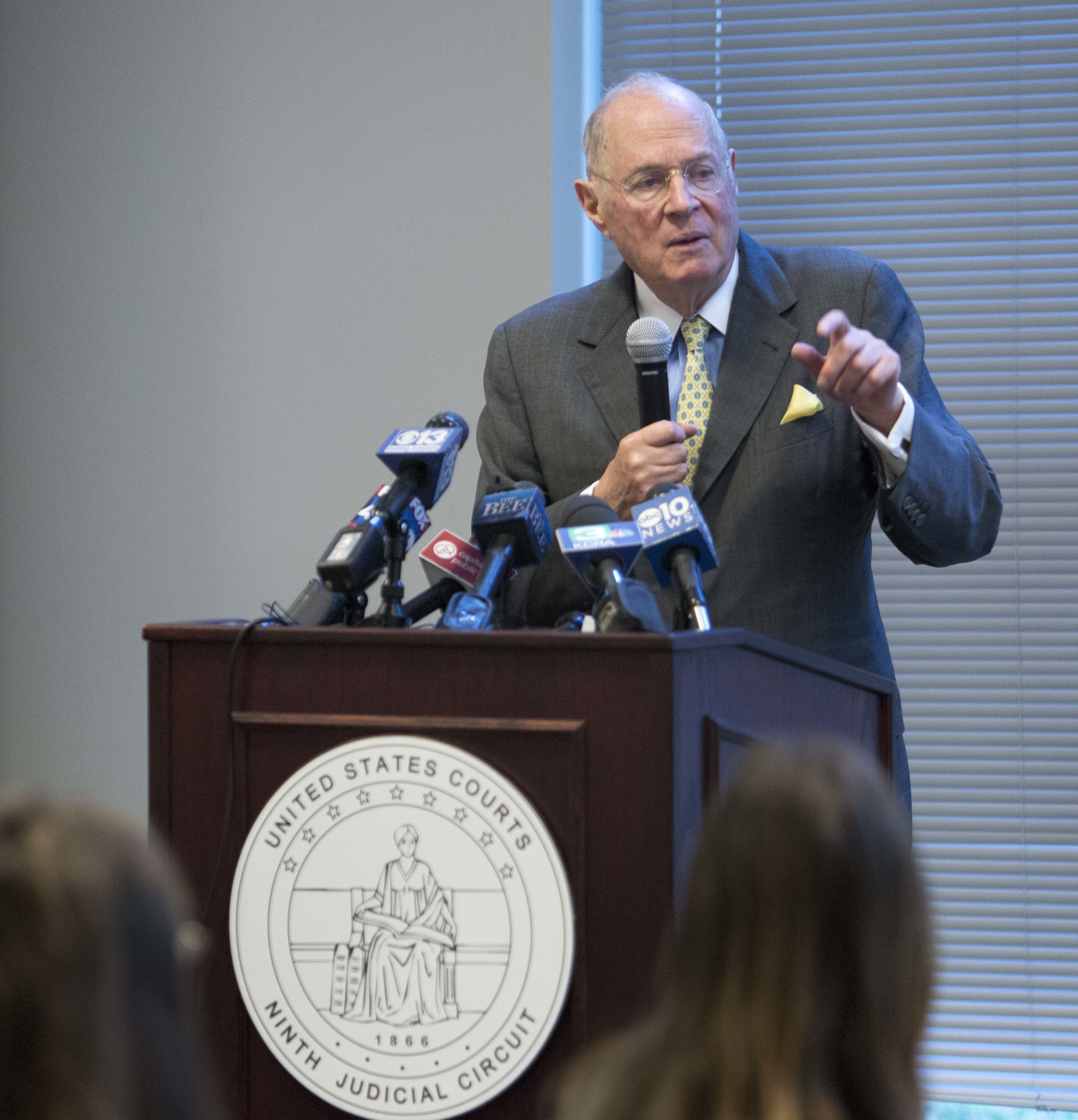 Former U.S. Supreme Court Justice Anthony Kennedy delivers the keynote speech during a luncheon held for high school civics students in Sacramento, Calif., on Friday, Sept. 28, 2018. Kennedy declined to comment on the confirmation process of Judge Brett Kavanaugh during the Constitution Day event sponsored by the 9th circuit court. (AP Photo/Steve Yeater)