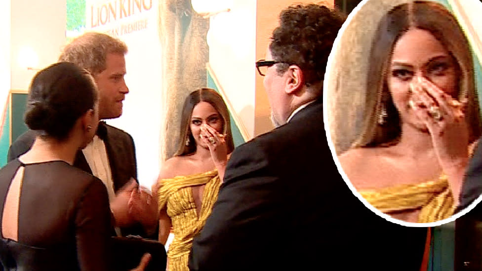 Beyonce caught cringing at Sussexes second Disney pitch