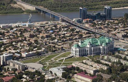 An aerial view shows the State Theatre of Opera and Ballet in the southern city of Astrakhan, Russia, in this August 28, 2013 file photo. RUSSIA-CRISIS/ASTRAKHAN REUTERS/Ivan Rotanov/Files
