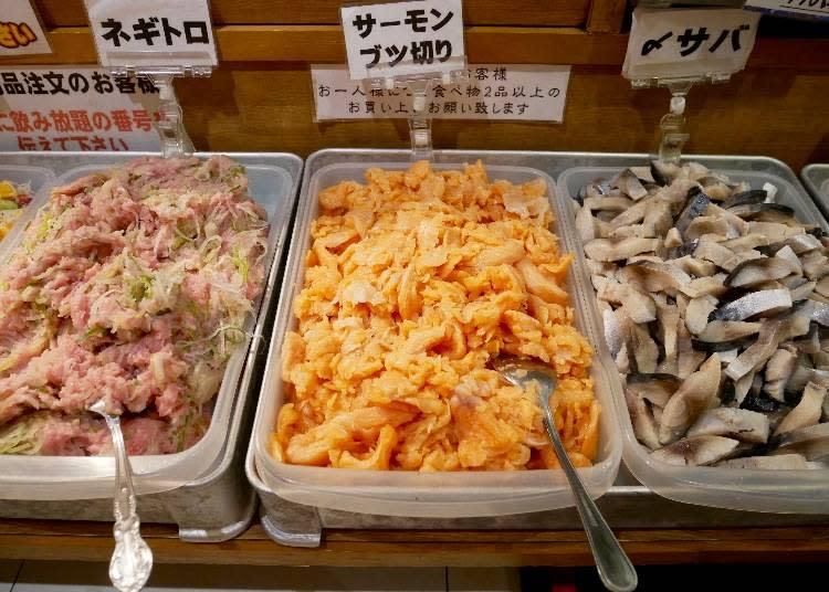 右起:醃製鯖魚、鮭魚生魚片