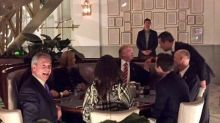 Nigel Farage pictured having celebratory dinner with Donald Trump after Brexit speech