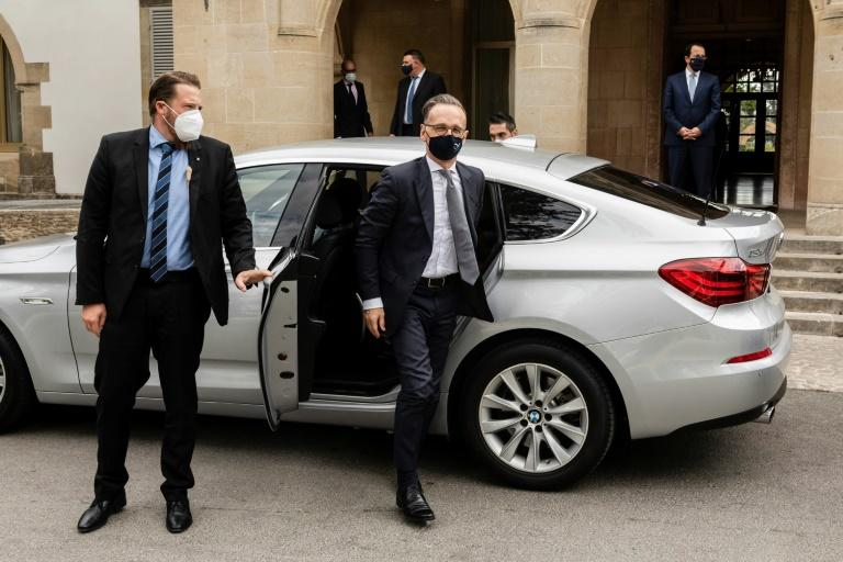 German Foreign Minister Heiko Maas, who has criticized Turkey's return of a ship to contested waters, arrives for talks at the presidential palace in Nicosia, Cyprus