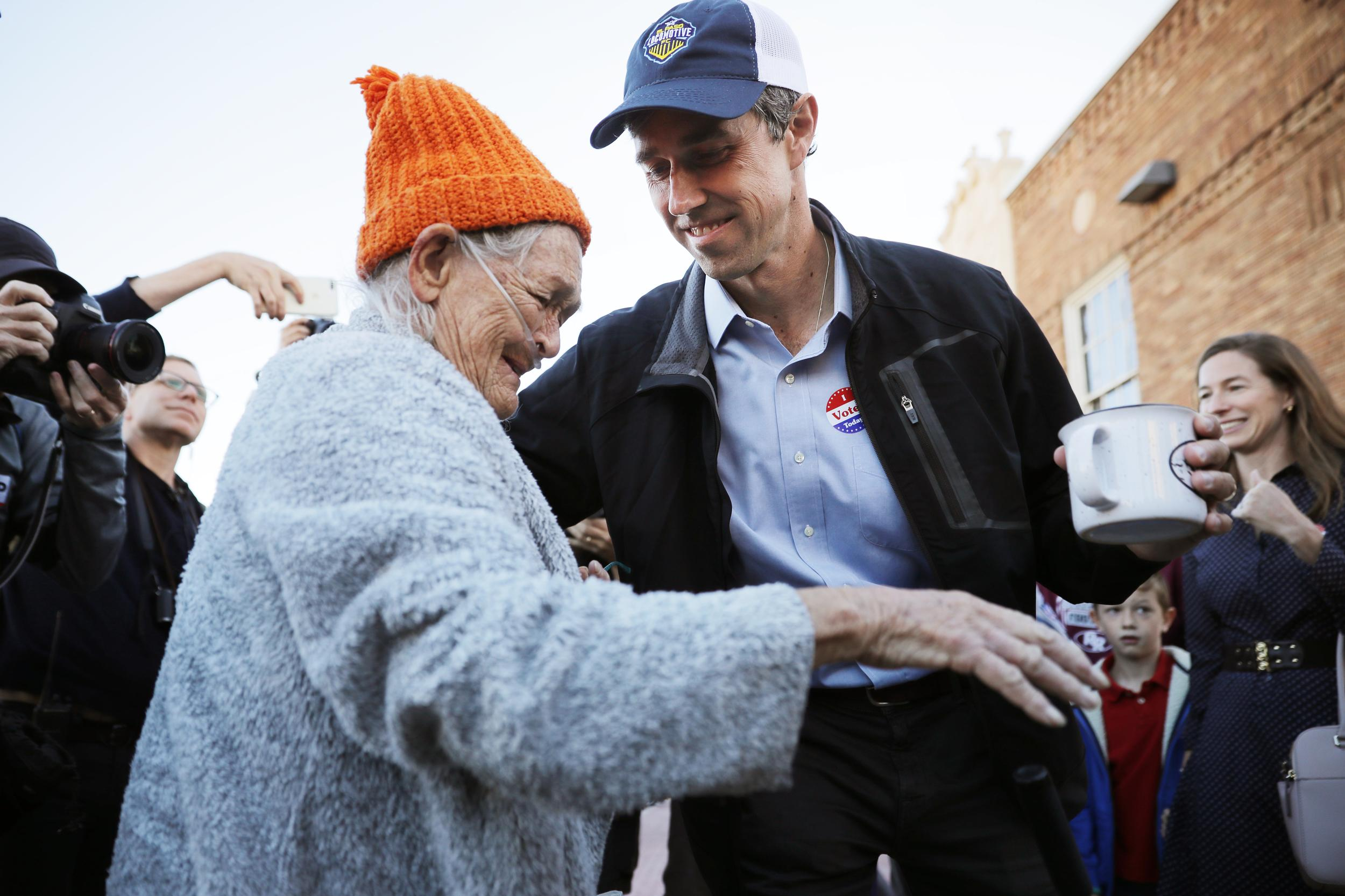 EL PASO, TEXAS - NOVEMBER 06: U.S. Senate candidate Rep. Beto O'Rourke (D-TX) (R) talks with a supporters after he cast his ballot at El Paso Community College-Rio Grande Campus on Election Day November 06, 2018 in El Paso, Texas. In Texas, O'Rourke is in a surprisingly tight contest against incumbent Sen. Ted Cruz (R-TX) for the state's U.S. Senate race. (Photo by Chip Somodevilla/Getty Images)
