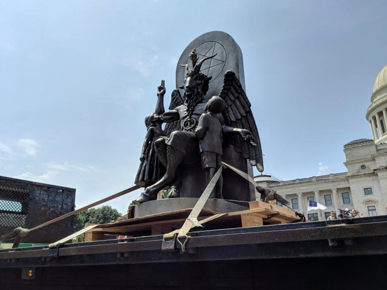 Satanic temple sparks uproar by unveiling statue of goat-headed, winged creature called Baphomet in Arkansas state capitol