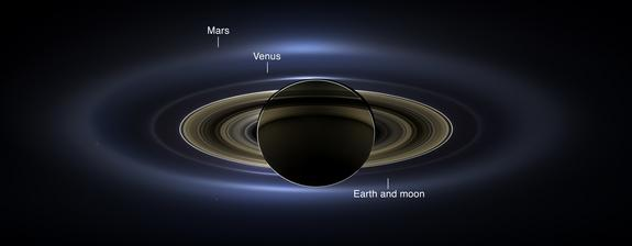 The Cassini spacecraft's onboard cameras acquired a panoramic mosaic of Saturn that allows scientists to see details in the rings as they are backlit by the sun. This image spans about 404,880 miles (651,591 kilometers) across.