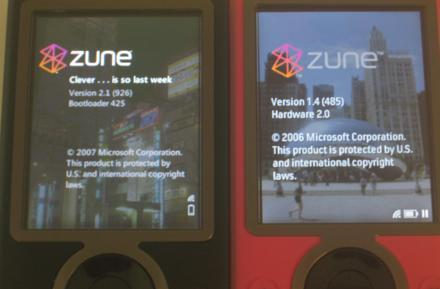 Zune 1 running firmware 2.1, Zune 2 coming Wednesday