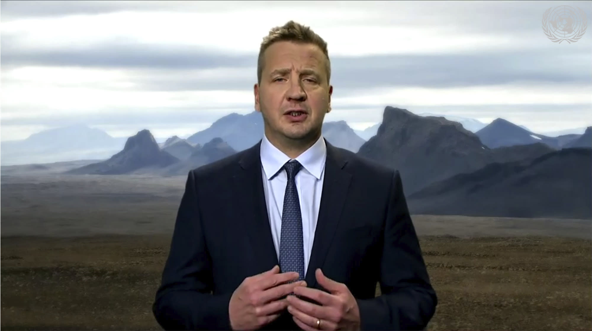 In this image made from UNTV video, Gudlaugur Thor Thordarson, Foreign Minister of Iceland, speaks in a pre-recorded message which was played during the 75th session of the United Nations General Assembly, Tuesday, Sept. 29, 2020, at UN headquarters. (UNTV via AP)
