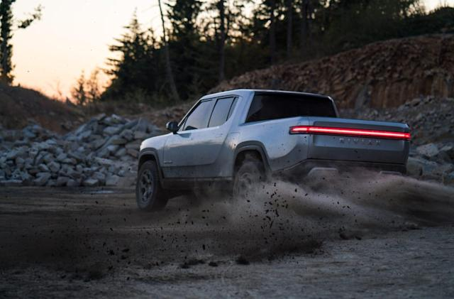 Rivian's electric trucks can charge each other