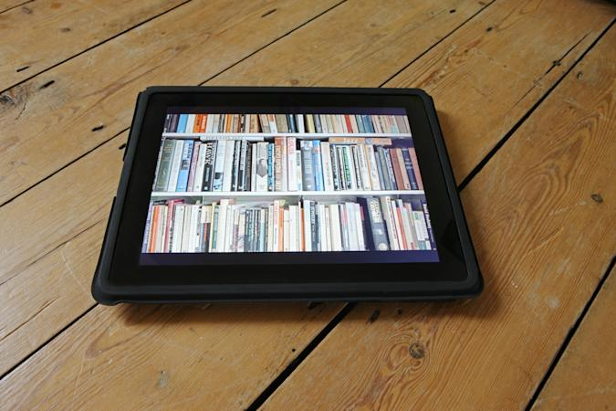 Selection of electronic books on digital tablet or e-reader.