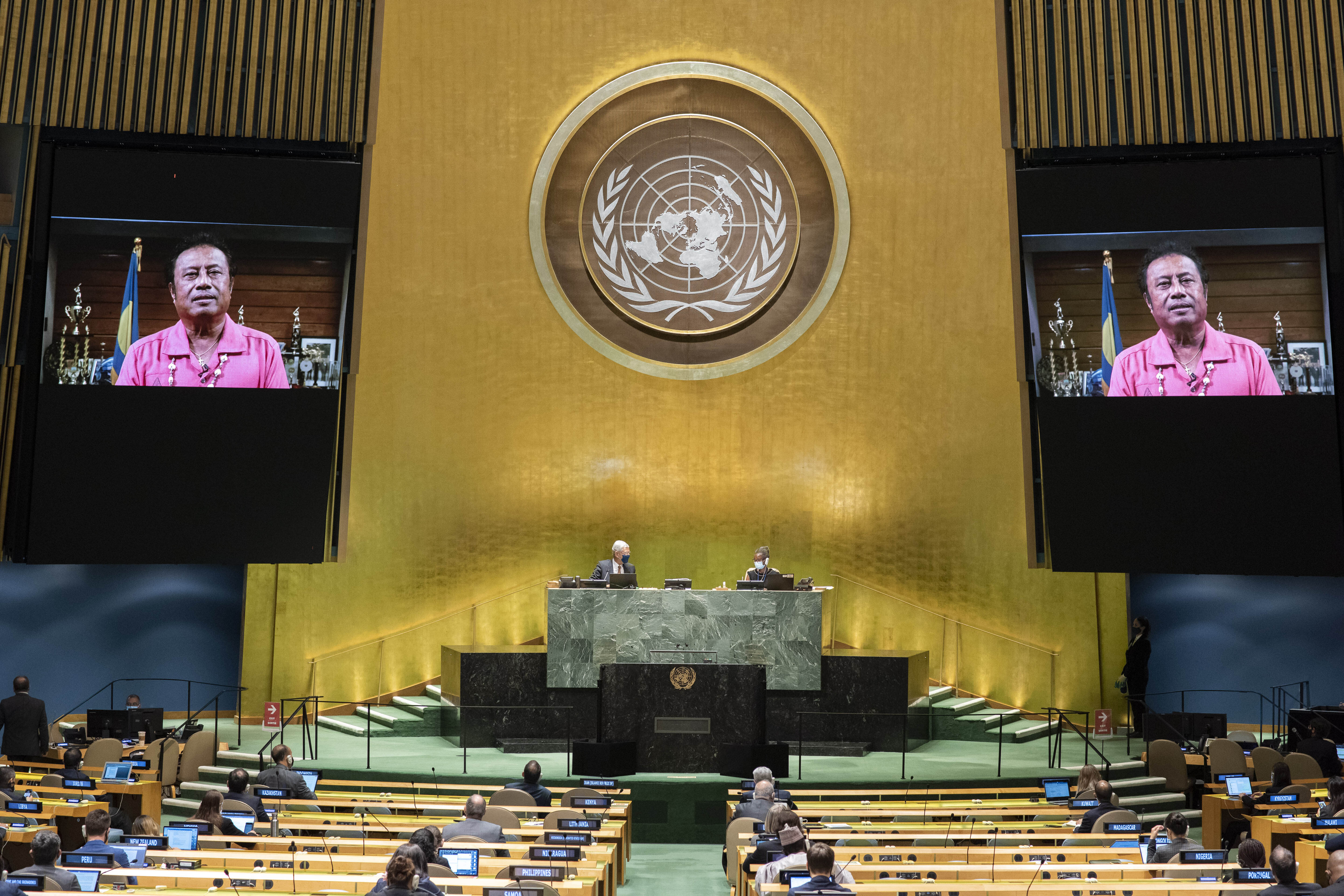 In this photo provided by the United Nations, the pre-recorded message of Tommy Esang Remengesau Jr., President of Palau, is played during the 75th session of the United Nations General Assembly, Wednesday Sept. 23, 2020, at U.N. headquarters, in New York. (Eskinder Debebe/UN Photo via AP)