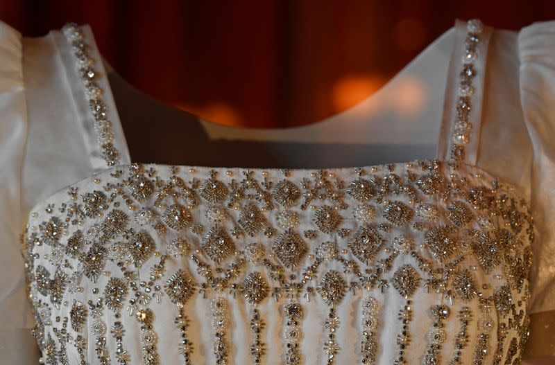 Wedding dress worn by Princess Beatrice of York, which was originally worn by Britain's Queen Elizabeth in the 1960s, ahead of it going on public display at Windsor Castle, Windsor, Britain