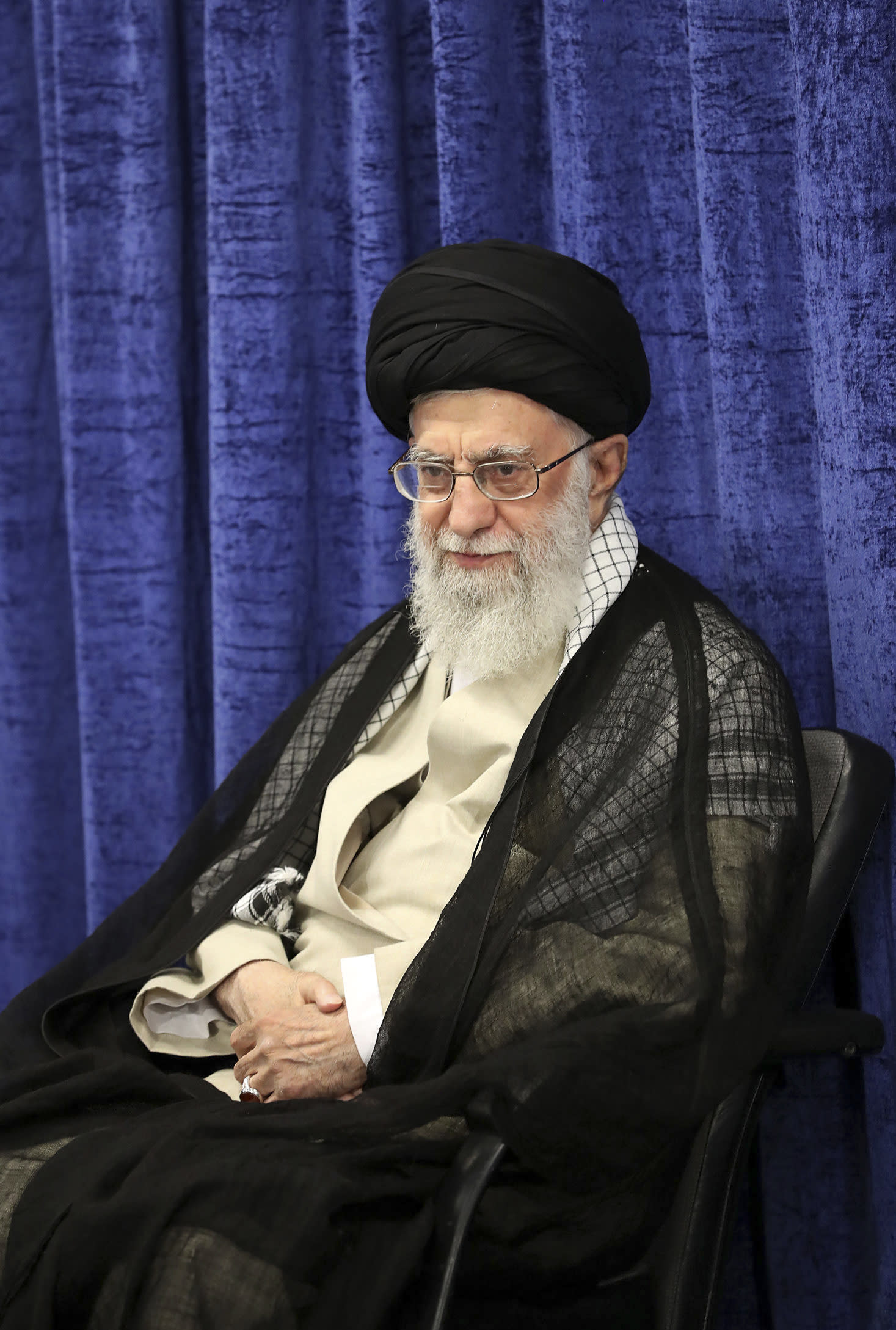 In this picture released by the official website of the office of the Iranian supreme leader, Supreme Leader Ayatollah Ali Khamenei attends a meeting with governmental officials in Tehran, Iran, Tuesday, May 14, 2019. Khamenei said his country won't negotiate with the United States and there will be no war between the two countries. (Office of the Iranian Supreme Leader via AP)