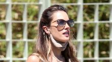 Alessandra Ambrosio's Short Romper & Barely-There Thong Sandals Look Beach-Ready for Lunch Outing