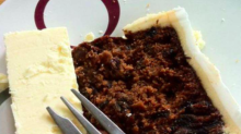 Christmas cake with a side of cheese is diving the internet