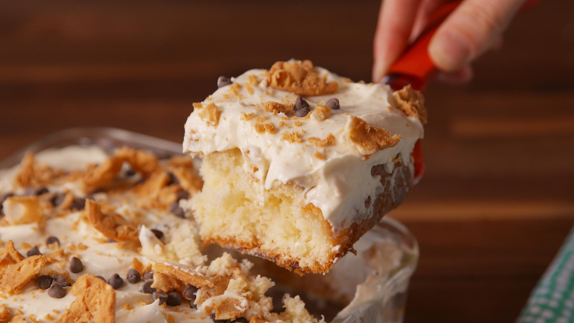 cannoli poke cake is so much easier than making actual