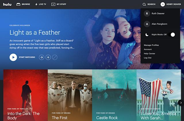 Hulu's night mode comes to the web