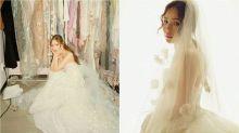 閔孝琳夢幻婚紗出自英國凱特王妃喜愛的愛牌!立體雕花、荷葉邊滿滿浪漫公主風