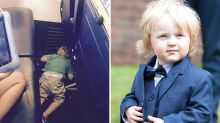 Toddler Falls Asleep In Plane Aisle After Helping To Hand Out Hot Drinks On Flight