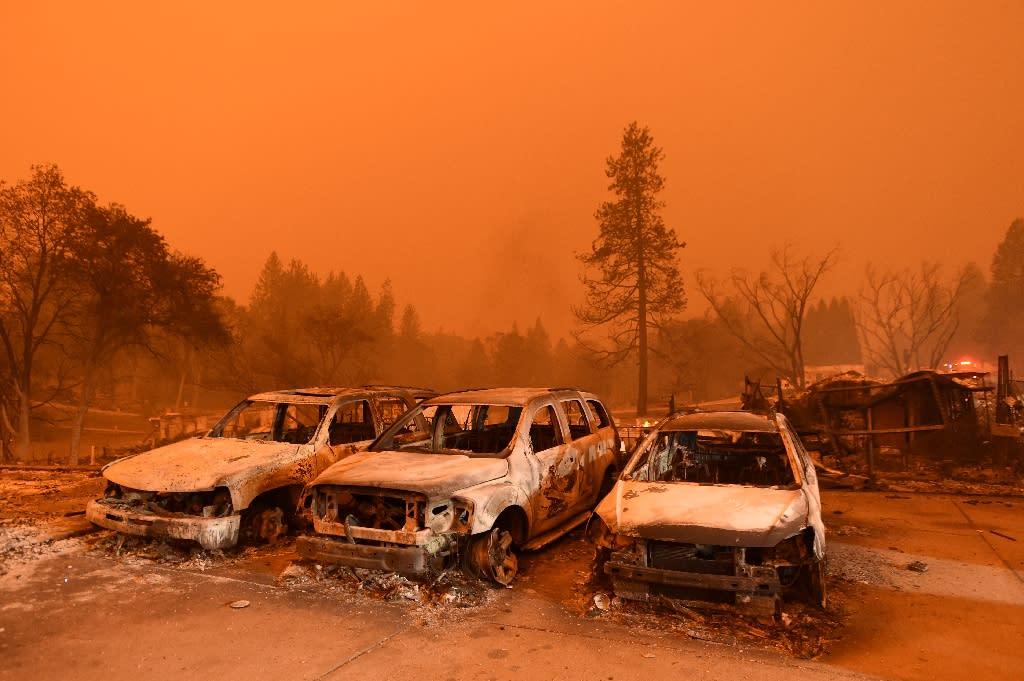 Abandoned vehicles sit at a car lot in Paradise, north of Sacramento, California on November 09, 2018 (AFP Photo/Josh Edelson)