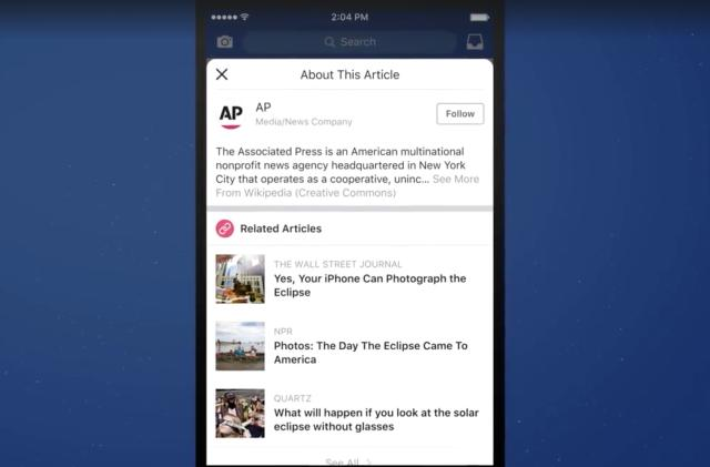 Facebook tests a feature that provides info on article publishers