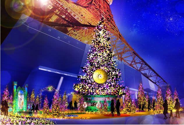 東京鐵塔聖誕點燈秀在每天的1600 – 2200間上演。(圖片來源/東京鐵塔官網)