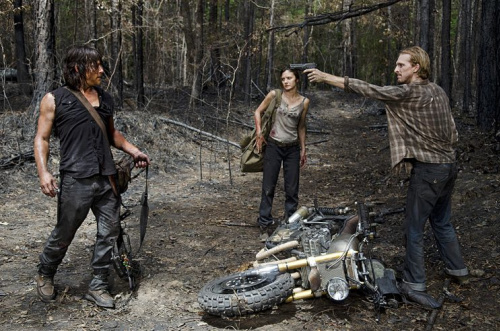 Norman Reedus as Daryl Dixon, Christine Evangelista as Sherry and Austin Amelio as Dwight in AMC's The Walking Dead . (Photo Credit: Gene Page/AMC)