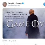 Trump tweets Game of Thrones-themed poster as Mueller report press conference ends