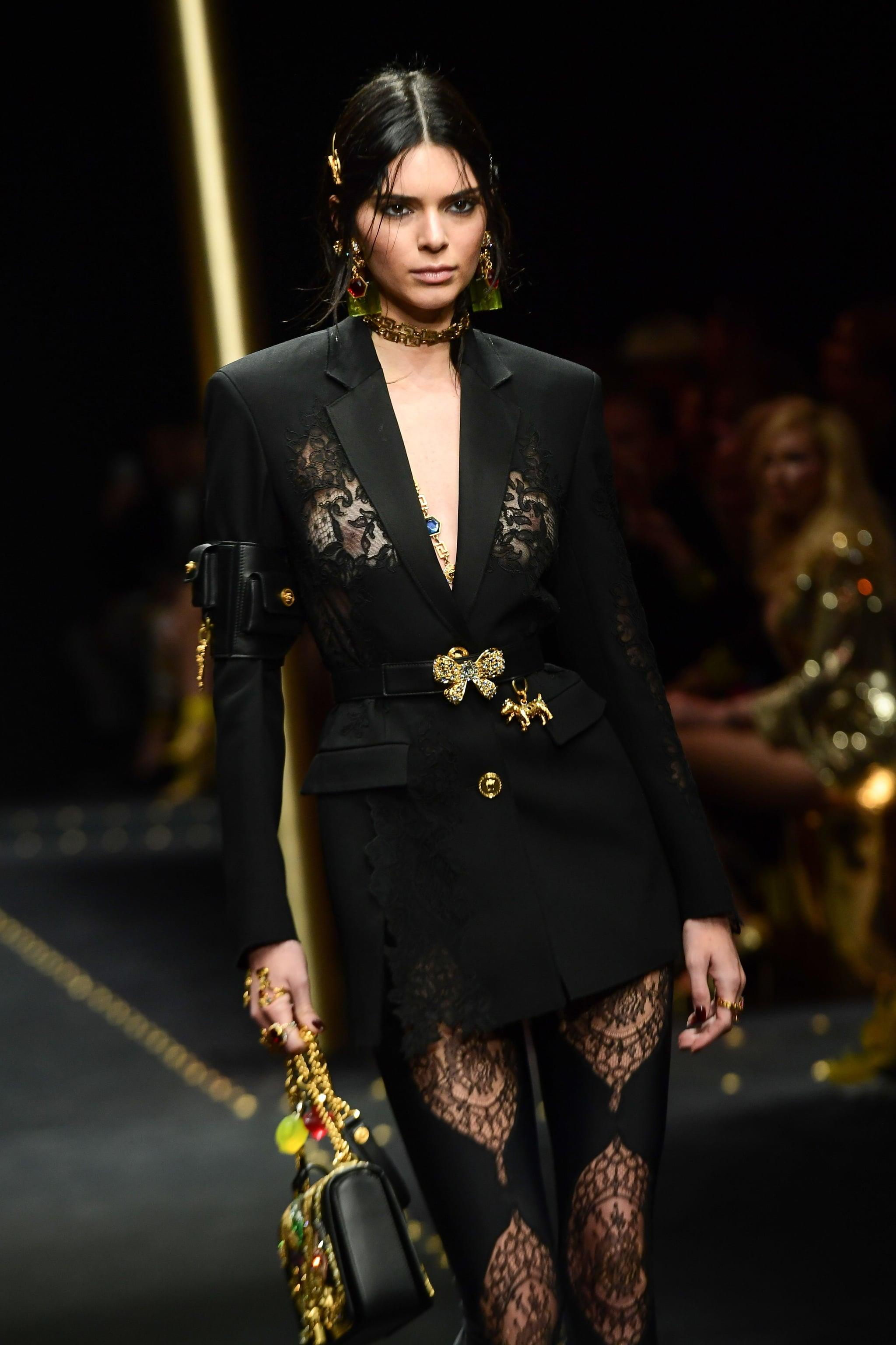b5bf226948734 Kendall Jenner Just Walked Down Versace's Runway in a NSFW Lace Blazer