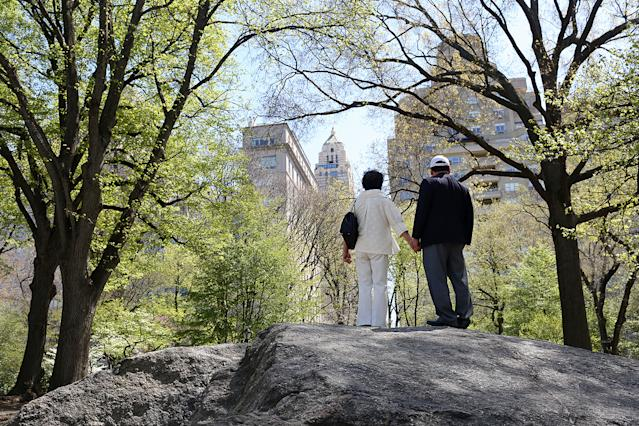 Kim Jong Un's maternal aunt and her husband, known in North Korea as Ko Yong Suk and Ri Gang, in New York's Central Park in April 2016. (Photo: Yana Paskova/Washington Post via Getty Images)