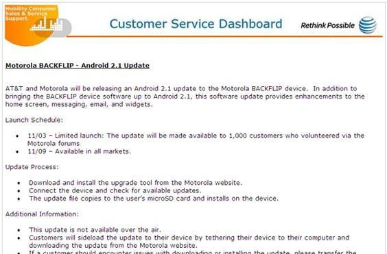 Motorola Backflip getting limited Android 2.1 rollout today, all markets on November 9th