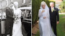 Couple celebrates 50th anniversary in same wedding clothes they wore in the 60s