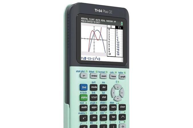 TI-84 Plus CE graphing calculator in green