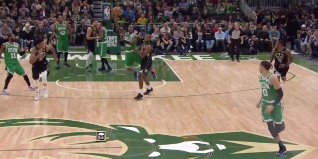 Giannis Antetokounmpo gets up for the big rejection