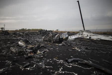 People stand near the remains of fuselage of the downed Malaysia Airlines flight MH17, near the village of Hrabove (Grabovo) in Donetsk region, eastern Ukraine
