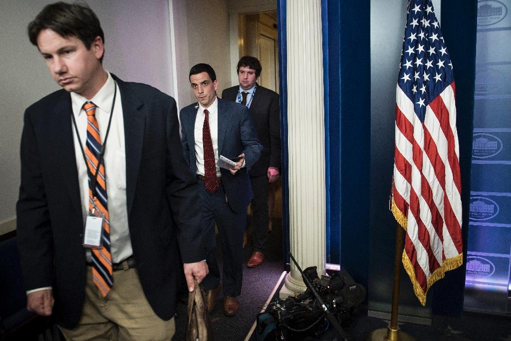 """The White House Correspondents Association said it was """"protesting strongly"""" against the decision to only allow a small group of reporters being briefed during an off camera meeting with Press Secretary Sean Spicer (AFP Photo/Brendan Smialowski)"""