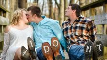 Newlyweds and Their 'Third Wheel' Go Viral With Hilarious Wedding Photos