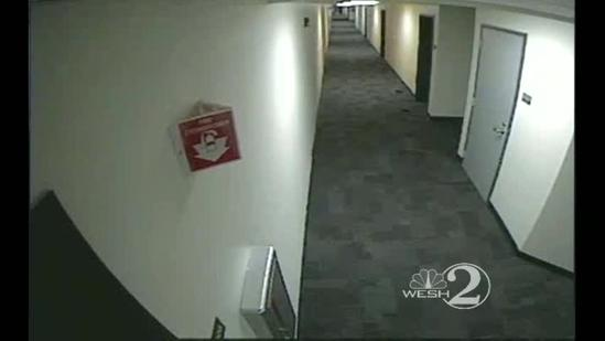 Raw video: UCF plotter pulling fire alarm