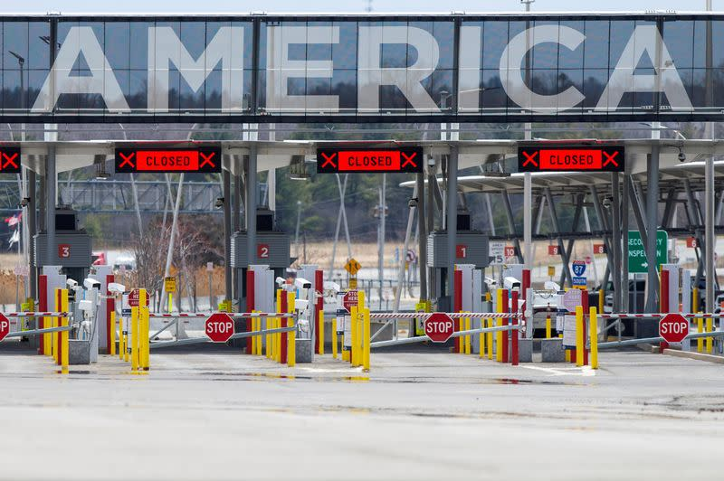 FILE PHOTO: The U.S.-Canada border crossing is seen amid the coronavirus disease (COVID-19) outbreak in Lacolle