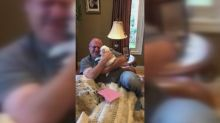 Dad turns into puddle of tears after receiving new puppy