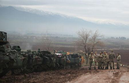 Turkish soldiers are pictured in a village near the Turkish-Syrian border in Hatay province