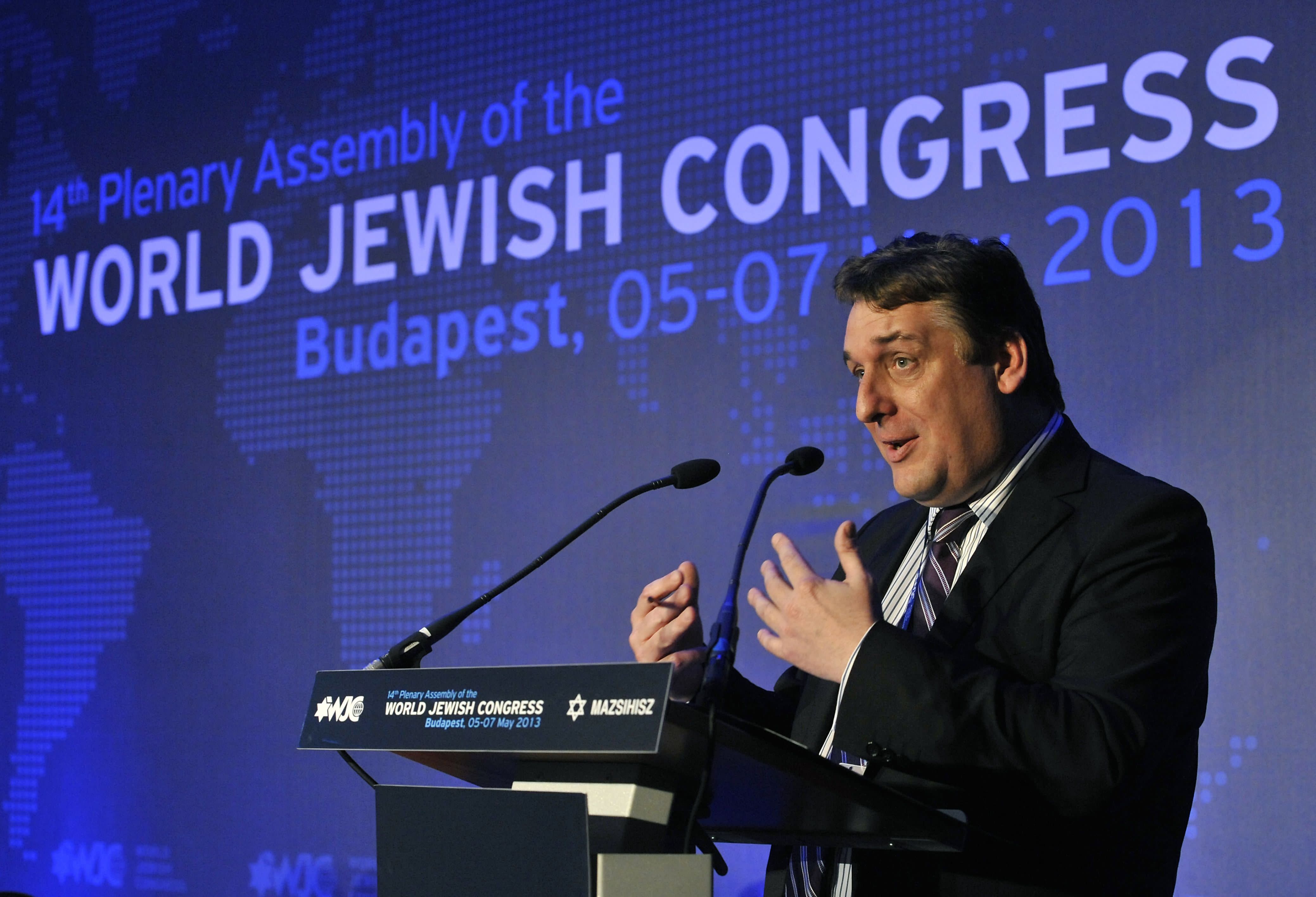 British journalist Robin Shepherd delivers his speech during the 14th Plenary Assembly of the World Jewish Congress in Budapest, Hungary, Tuesday, May 7, 2013. (AP Photo/MTI, Lajos Soos)