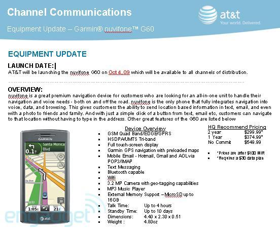 Garmin-Asus nuvifone G60 finally ready for AT&T: $300 on October 4?