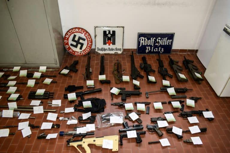 Police found a huge stash of arms as well as neo-Nazi propaganda and Hitler memorabilia (AFP Photo/FRANCESCO AMMENDOLA, HO)