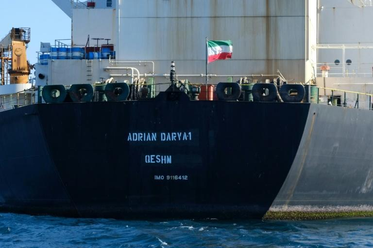 An Iranian flag flutters onboard the Adrian Darya oil tanker, formerly known as Grace 1, off the coast of Gibraltar in August 2019