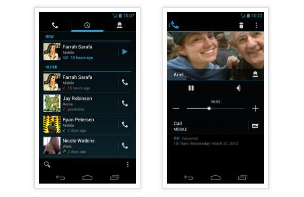 Google Voice gets an ICS update, brings visual voicemail to the missed call log