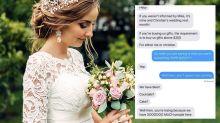 Bride's 'ludicrous' wedding gift demand roasted online